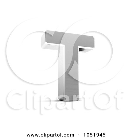Royalty-Free 3d Clip Art Illustration of a 3d Chrome Alphabet Symbol; Letter T by stockillustrations