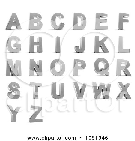 Royalty-Free 3d Clip Art Illustration of a Digital Collage Of 3d Chrome Alphabet Letters A Through Z by stockillustrations