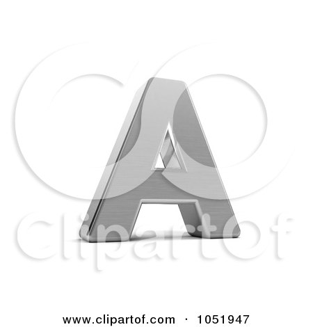 Royalty-Free 3d Clip Art Illustration of a 3d Chrome Alphabet Symbol; Letter A by stockillustrations