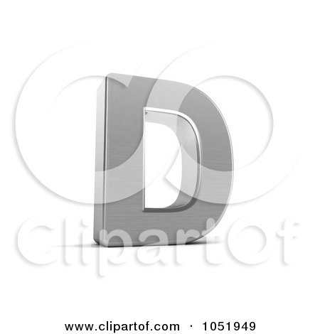 Royalty-Free 3d Clip Art Illustration of a 3d Chrome Alphabet Symbol; Letter D by stockillustrations