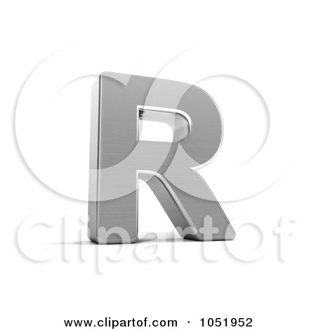 Royalty-Free 3d Clip Art Illustration of a 3d Chrome Alphabet Symbol; Letter R by stockillustrations
