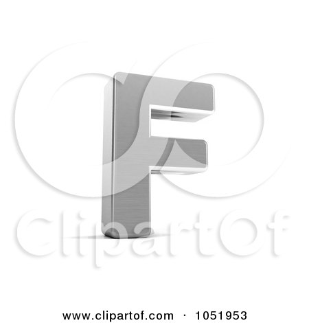Royalty-Free 3d Clip Art Illustration of a 3d Chrome Alphabet Symbol; Letter F by stockillustrations