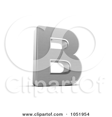Royalty-Free 3d Clip Art Illustration of a 3d Chrome Alphabet Symbol; Letter B by stockillustrations