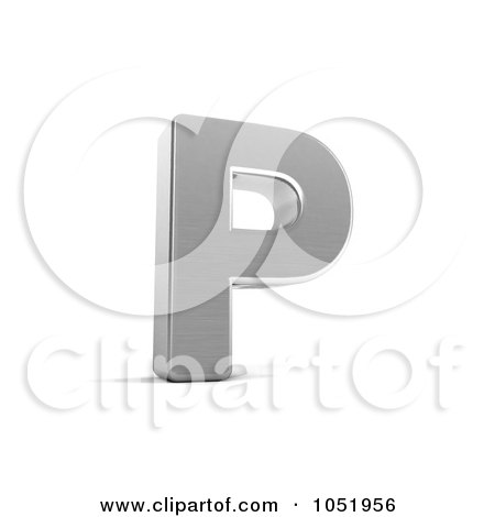 Royalty-Free 3d Clip Art Illustration of a 3d Chrome Alphabet Symbol; Letter P by stockillustrations