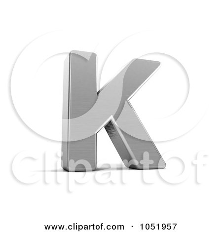 Royalty-Free 3d Clip Art Illustration of a 3d Chrome Alphabet Symbol; Letter K by stockillustrations