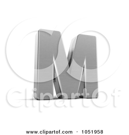 Royalty-Free 3d Clip Art Illustration of a 3d Chrome Alphabet Symbol; Letter M by stockillustrations
