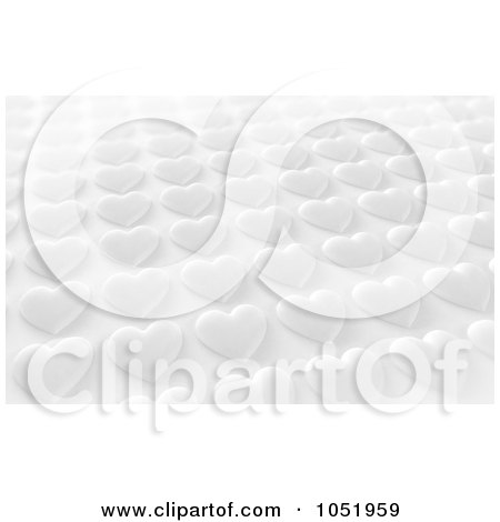 Royalty-Free 3d Clip Art Illustration of a Background Of Rows Of 3d White Hearts by stockillustrations