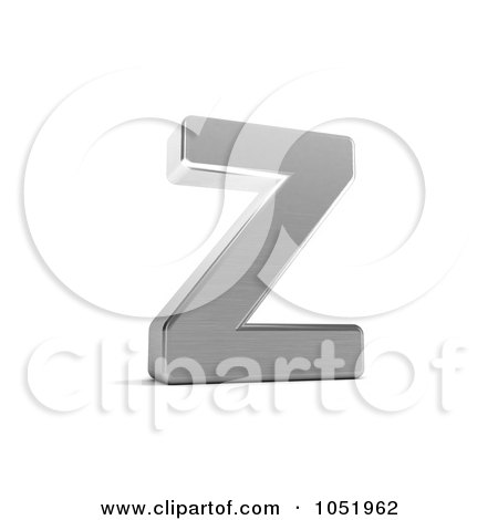 Royalty-Free 3d Clip Art Illustration of a 3d Chrome Alphabet Symbol; Letter Z by stockillustrations