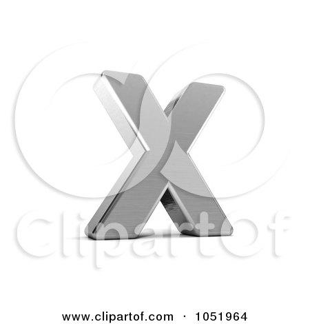 Royalty-Free 3d Clip Art Illustration of a 3d Chrome Alphabet Symbol; Letter X by stockillustrations
