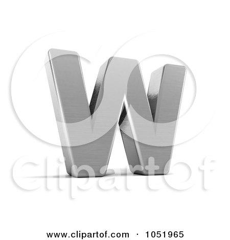 Royalty-Free 3d Clip Art Illustration of a 3d Chrome Alphabet Symbol; Letter W by stockillustrations