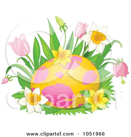 Royalty-Free Vector Clip Art Illustration of a Pink And Yellow Easter Egg In A Bed Of Spring Flowers by Pushkin