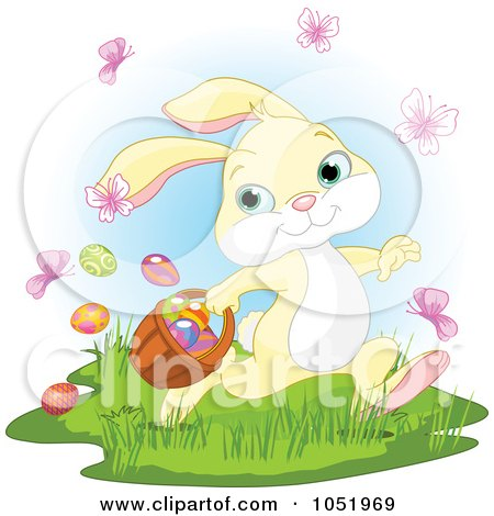 Royalty-Free Vector Clip Art Illustration of a Yellow Easter Bunny With Butterflies And Easter Eggs by Pushkin