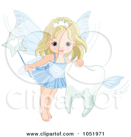 Royalty-Free Vector Clip Art Illustration of a Cute Tooth Fairy Girl With A Flying Tooth by Pushkin