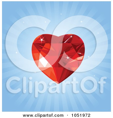 Royalty-Free Vector Clip Art Illustration of a Red Ruby Heart Over Blue Rays by Pushkin