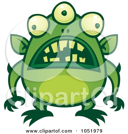 Royalty-Free Vector Clip Art Illustration of a Green Alien Monster With Messed Up Teeth by John Schwegel
