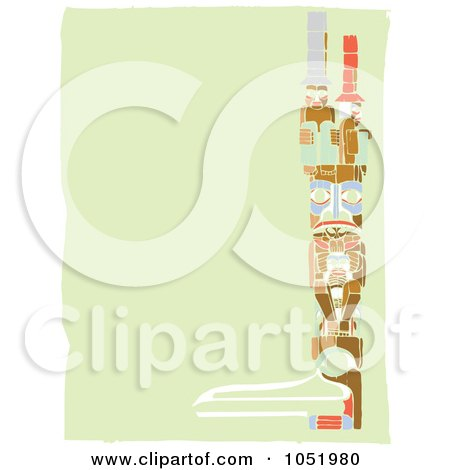 Royalty-Free Vector Clip Art Illustration of a Right Side Totem Pole Border On A Green Background by xunantunich