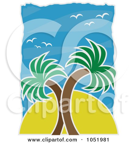 Royalty-Free Vector Clip Art Illustration of a Sun Behind Palm Trees Against A Blue Sky With Seagulls by mheld