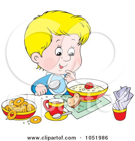 Royalty-Free Vector Clip Art Illustration of a Boy Eating A Healthy Breakfast by Alex Bannykh