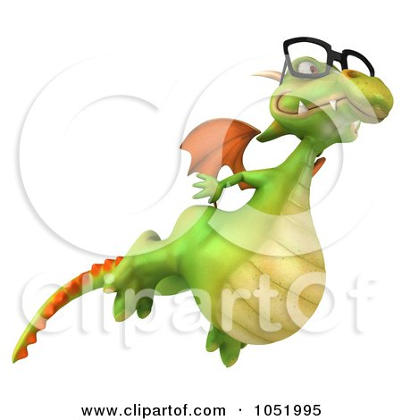 Royalty-Free 3d Clip Art Illustration of a 3d Dragon Wearing Glasses And Flying by Julos