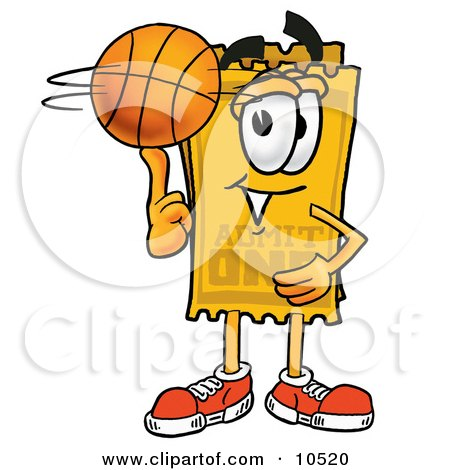 Clipart Picture of a Yellow Admission Ticket Mascot Cartoon Character Spinning a Basketball on His Finger by Toons4Biz