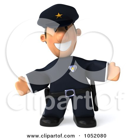 Royalty-Free 3d Clip Art Illustration of a 3d Sheriff Toon Guy Welcoming by Julos