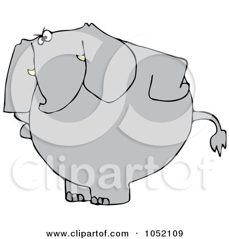 Royalty-Free Vector Clip Art Illustration of an Upset Elephant Standing With His Hands On His Hips by djart