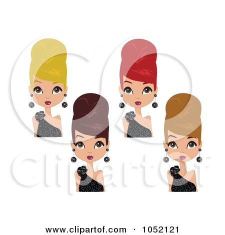 Royalty-Free Vector Clip Art Illustration of a Digital Collage Of Women In Black Dresses, Wearing Their Hair Up In Beehives by peachidesigns