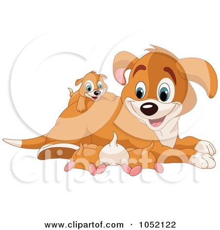 Royalty-Free Vector Clip Art Illustration of a Happy Beagle Mom With Puppies by Pushkin