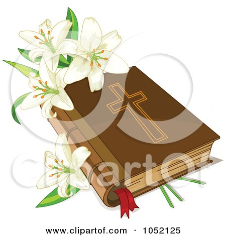 Royalty-Free Vector Clip Art Illustration of White Easter Lilies And A Holy Bible  by Pushkin