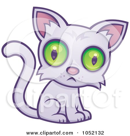 Royalty-Free Vector Clip Art Illustration of a Sad Green Eyed Cat by John Schwegel