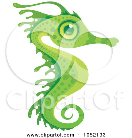 Royalty-Free Vector Clip Art Illustration of an Exotic Green Seahorse by John Schwegel