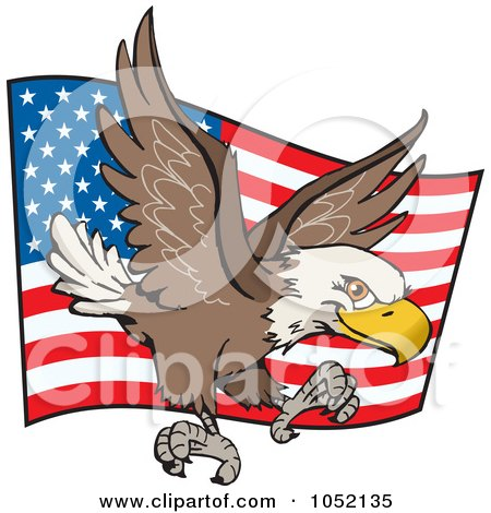 Royalty Free Vector Clip Art Illustration Of A Bald Eagle Flying In Front Of A Waving American Flag