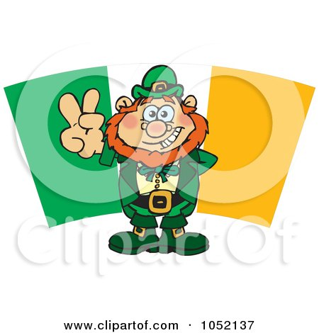 Leprechaun Gesturing A Peace Sign In Front Of An Irish Flag Posters, Art Prints