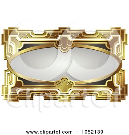 Royalty-Free Vector Clip Art Illustration of an Ornate Gray Oval And Gold Frame With Copyspace by AtStockIllustration