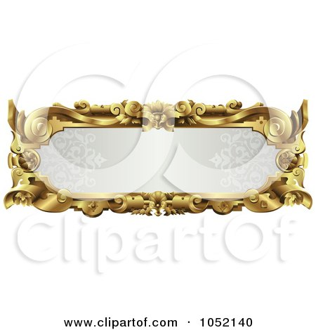 Royalty-Free Vector Clip Art Illustration of an Ornate Gray And Gold Frame With Copyspace by AtStockIllustration