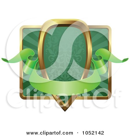 Royalty-Free Vector Clip Art Illustration of an Ornate Green And Gold Banner Shield Frame With Copyspace by AtStockIllustration