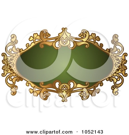 Royalty-Free Vector Clip Art Illustration of an Ornate Oval Green And Gold Frame With Copyspace by AtStockIllustration