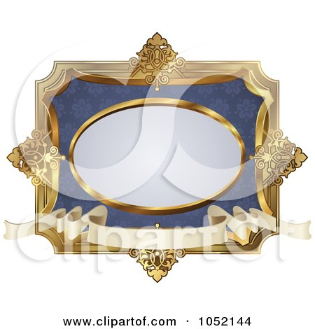 Royalty-Free Vector Clip Art Illustration of an Ornate Blue And Gold Frame With Copyspace by AtStockIllustration