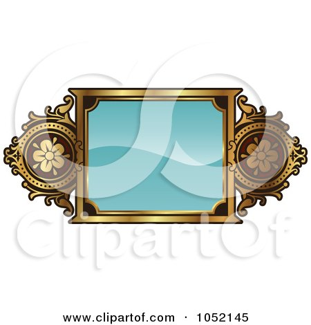 Royalty-Free Vector Clip Art Illustration of an Ornate Turquoise And Gold Frame With Copyspace by AtStockIllustration