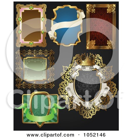 Royalty-Free Vector Clip Art Illustration of a Digital Collage Of Antique And Retro Styled Ornate Frame Designs On Black - 2 by AtStockIllustration
