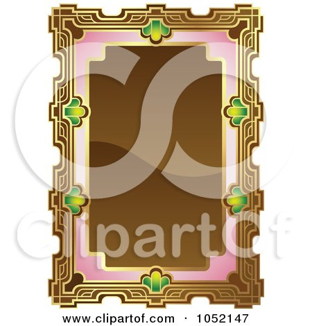 Royalty-Free Vector Clip Art Illustration of an Ornate Brown, Pink And Gold Frame With Copyspace by AtStockIllustration