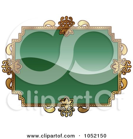 Royalty-Free Vector Clip Art Illustration of an Ornate Green And Gold Frame With Copyspace by AtStockIllustration