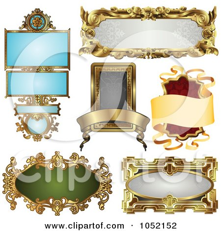 Royalty-Free Vector Clip Art Illustration of a Digital Collage Of Antique And Retro Styled Ornate Frame Designs - 3 by AtStockIllustration