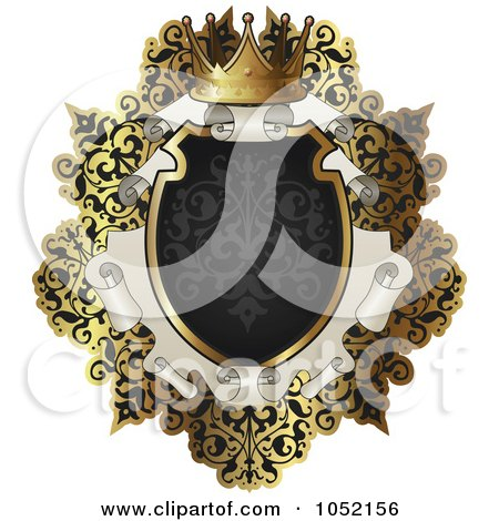 Royalty-Free Vector Clip Art Illustration of an Ornate Black And Gold Scroll Frame With Copyspace by AtStockIllustration