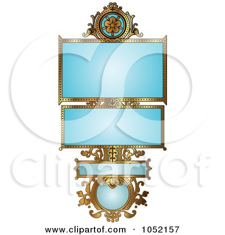 Royalty-Free Vector Clip Art Illustration of an Ornate Blue And Gold Floral Frame With Copyspace by AtStockIllustration