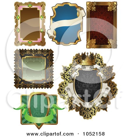 Royalty-Free Vector Clip Art Illustration of a Digital Collage Of Antique And Retro Styled Ornate Frame Designs - 2 by AtStockIllustration
