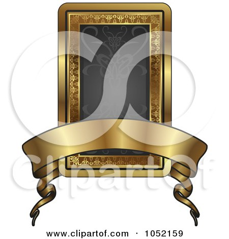 Royalty-Free Vector Clip Art Illustration of an Ornate Black And Gold Banner Frame With Copyspace by AtStockIllustration