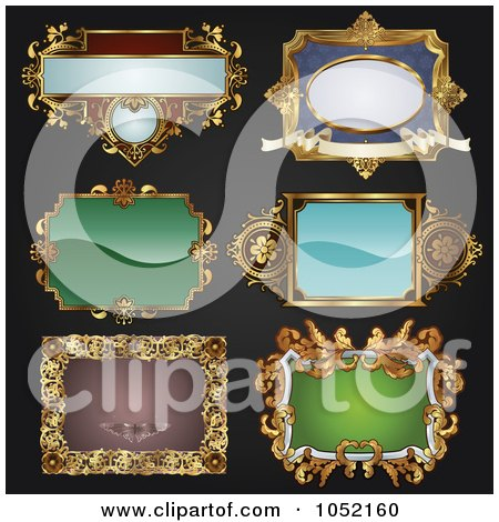 Royalty-Free Vector Clip Art Illustration of a Digital Collage Of Antique And Retro Styled Ornate Frame Designs On Black - 1 by AtStockIllustration