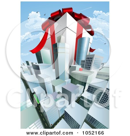 Royalty-Free Vector Clip Art Illustration of a Gigantic Gift Box Towering Above A Cityscape by AtStockIllustration