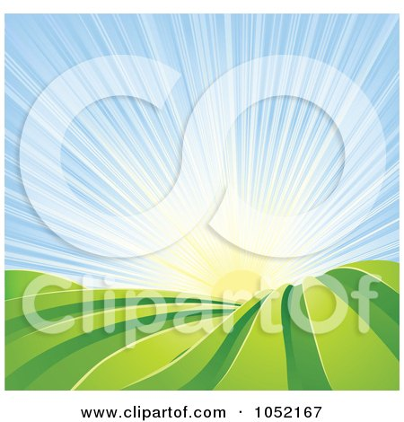 Royalty-Free Vector Clip Art Illustration of The Sun Shining Over Green Hilly Farm Fields by AtStockIllustration